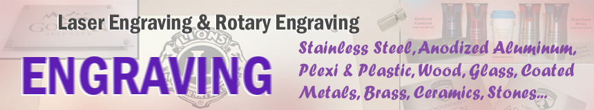 Click to look into options for Custom Engraving and Die Cut Letters, Logos, and Shapes