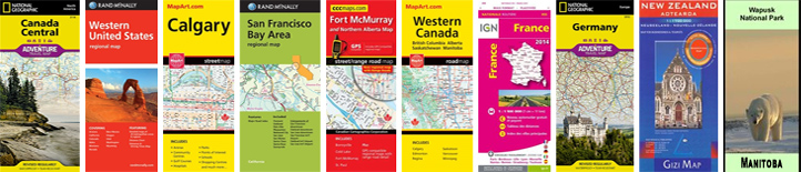 Many Maps and Guides in Stock for World, Regions, Countries, States or Provinces, Cities - Local and International.