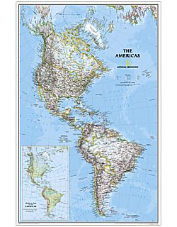National Geographic - The Americas Political Wall Map