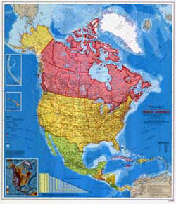 Canada Environment Mines and Resources - North America Wall Map